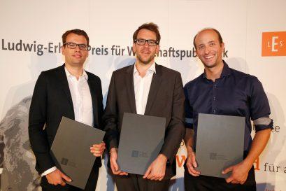 Die Förderpreisträger Christian Wermke, Daniel Sprenger und Patricius Mayer