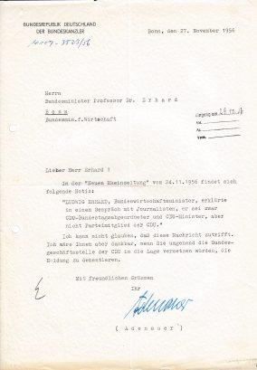 Brief von Bundeskanzler Konrad Adenauer an Ludwig Erhard vom 27. November 1956