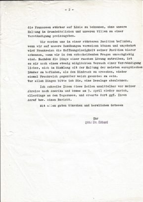 Das Schreiben belegt, dass Ludwig Erhard und Alfred Müller-Armack sich in Bezug auf die europäische Einigung nicht immer einig waren.