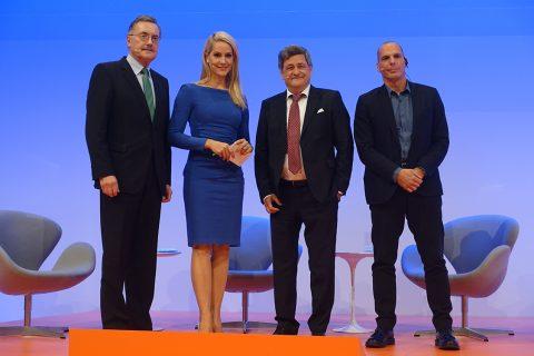 Dr. Jürgen Stark, Judith Rakers (Moderatorin), Roland Tichy, Prof. Dr. Yanis Varoufakis