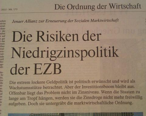 Die Jenaer Allianz, ein liberales Netzwerk mit rund 20 Mitgliedern – die Ludwig-Erhard-Stiftung gehört dazu –, sieht die EZB-Geldpolitik kritisch.