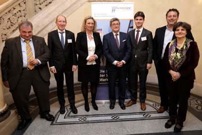 Wolfgang Steiger, Prof. Dr. Hilmar Schneider, Kerstin Schreyer MdL, Roland Tichy, Mark Helfrich MdB, Richard Jager, Barbara Kauffmann