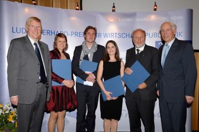 Dr. Thomas Mayer, Annina Reimann, Christoph Grabitz, Barbara Kühn, Prof. Dr. Hans-Werner Sinn, Dr. Otmar Franz (stellvertretender Vorsitzender der Ludwig-Erhard-Stiftung)